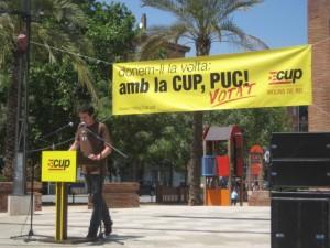 """Àlex Maymó durant el seu discurs al conegut com """"Parc de les Palmeres"""" // Jose Polo"""