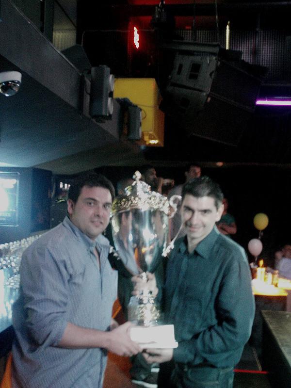 Moreno i Berrocal (primer entrenador) amb la copa de campions // basquetkiev.blogspot.com