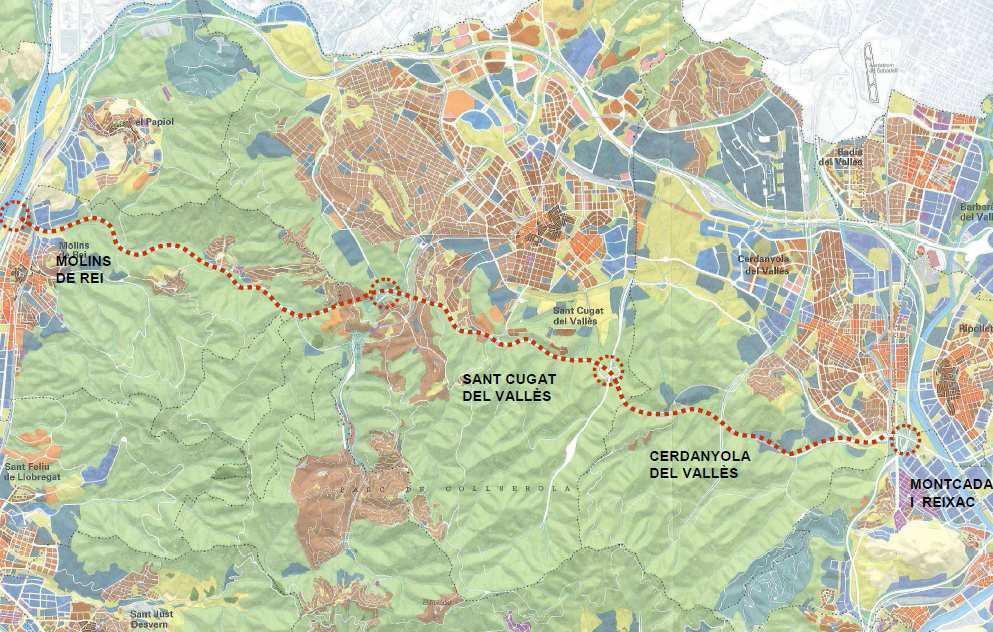Mapa de la proposta recollida al Pla General Metropolità de 1976 // Ajuntament de Molins de Rei