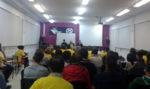 Un centenar de persones es van tancar al Bernat en defensa de l'educació // Adrià Casaín