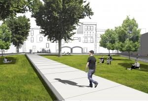 Una plataforma pavimentada travessarà el pati de Palau en diagonal // Ajuntament de Molins de Rei
