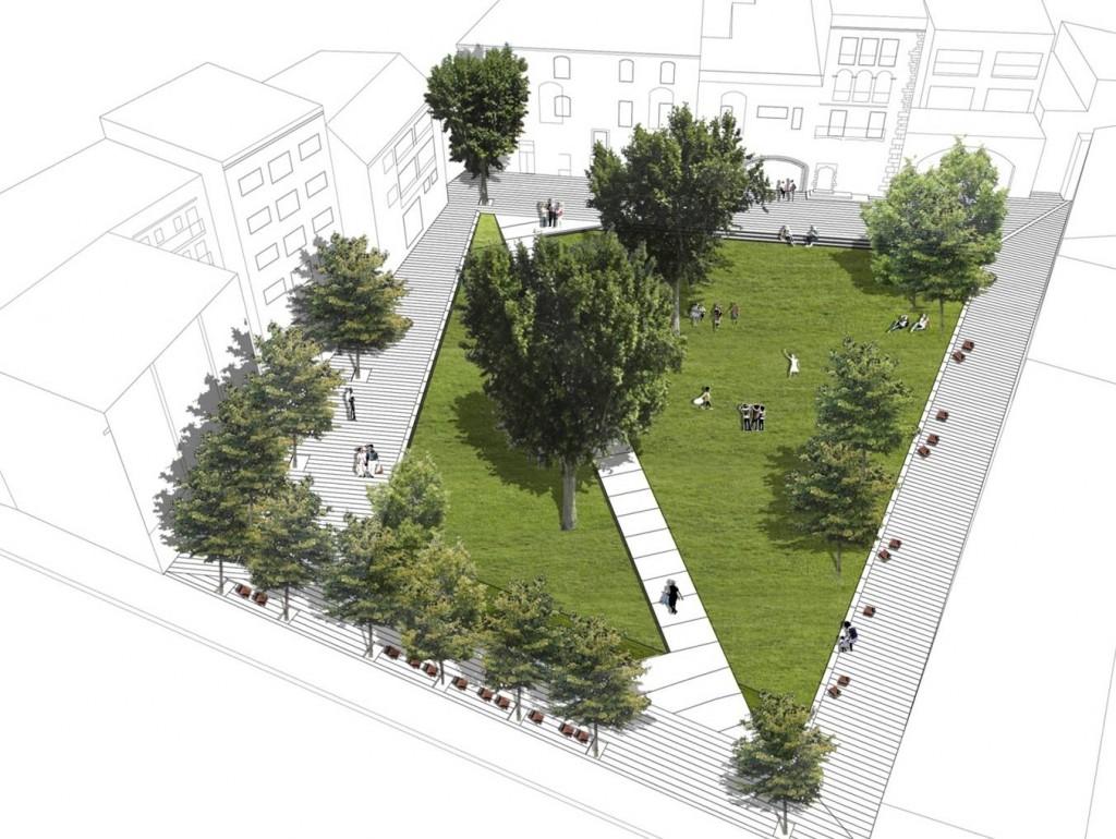 Aspecte de l'avantprojecte dissenyat per l'Àrea Metropolitana de Barcelona al pati de Palau // Ajuntament de Molins de Rei