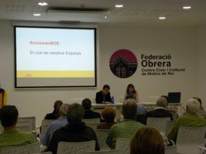 Pere Aragonés va explicar les #cosesdelBOE davant una trentena de molinencs a la Federació Obrera // ExMdR