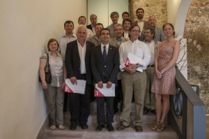 L'alcalde, com amfitrió, i Jordi Romeu, com a representant de Molins de Rei van participar a la reunió de l'Associació de Municipis per la Independència // Ajuntament de Molins de Rei