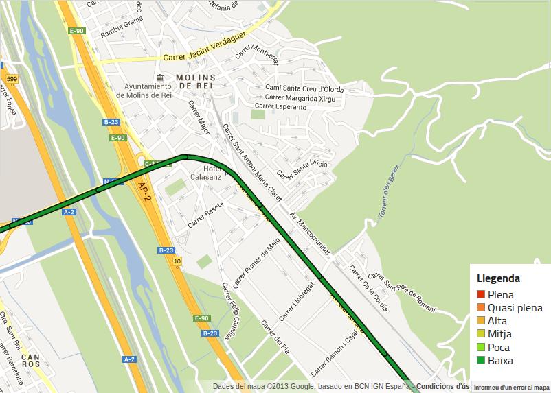 La Via Catalana passarà per Molins de Rei a través de la N-340 // ANC-Google Maps
