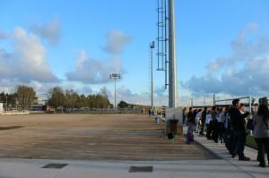 Les graderies i els vestidors es col·locaran just al marge del terreny de joc // Jose Polo
