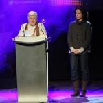 Mercè Pujol i Raquel Marcos van recollir el premi Solidaritat i Acció Cívica en nom de Càritas Diocesana // Jordi Julià