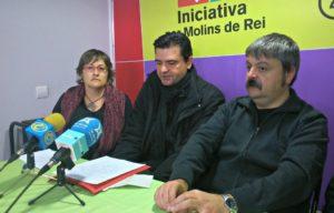 Mercè Ferrer, Rafa Bellido i Ivan Arcas van donar a conèixer els canvis al partit en una roda de premsa a la seu del partit // David Guerrero