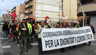 Imatge dels manifestants abans d'arribar al Parc de la Mariona // Jose Polo