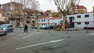 Els operaris treballen des del dimarts 18 de febrer al pati del Palau // Jose Polo