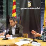 D'esquerra a dreta: Xavi Paz, Joan Ramon Casals i Mònica Santamans durant una roda de premsa // Jose Polo