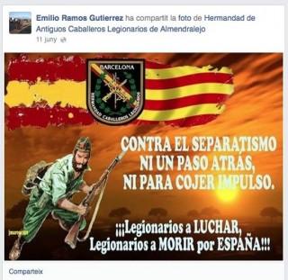 Publicació compartida per Ramos al seu Facebook publicada originalment pels legionaris d'Almendralejo // Facebook