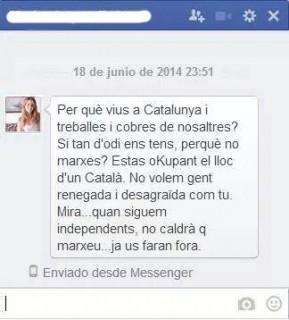 Missatge que rebut per Ramos i que ell ha fet públic // Facebook