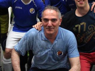 Jaume Molins durant la celebració de l'últim ascens de l'equip // Jose Polo