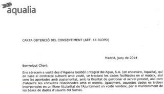 Imatge de la carta d'Aqualia on es demanava el consentiment per utilitzar les dades personals // CUP Molins de Rei