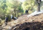 Els voluntaris de l'ADF treballant en l'extinció de l'incendi // ADF Puigmadrona - Olorda