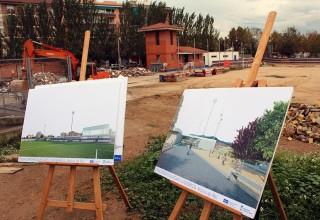 Dos plafons del projecte amb la zona en construcció de fons // Jose Polo