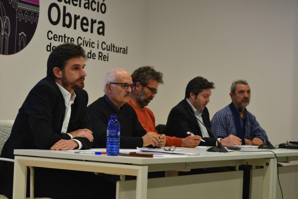Els ponents, d'esquerra a dreta, Xavi Paz, Frederic Prieto, Francesc Serra, Sergi Blàzquez i Pere Casas // Elisenda Colell