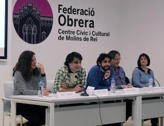 Representants de totes les formacions que formen part de Molins Camina durant l'última roda de premsa // Jose Polo