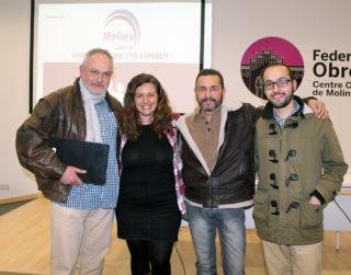 D'esquerra a dreta: Bautista, Aroca, Vaos i Pozo, candidats a liderar Molins Camina // Jose Polo