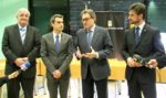 D'esquerra a dreta: Joaquim Martí, regidor de Fira; Joan Ramon Casals, alcalde; Artur Mas, president de la Generalitat; Xavi Paz, primer tinent d'alcalde // David Guerrero