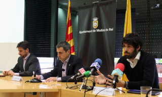D'esquerra a dreta: Paz, Casals i Puiggarí durant la roda de premsa de presentació // Jose Polo