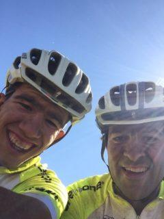 Josep Colomina (fill) i Josep Colomina (pare) després d'acabar l'última etapa // One to One