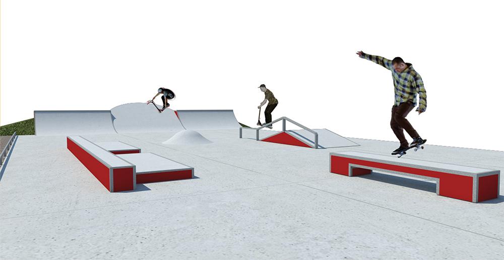 Recreació de la nova pista d'skate dissenyada per l'empresa Spoko Ramps // Ajuntament de Molins de Rei