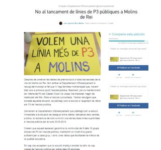 Captura de pantalla de la petició a Change.org