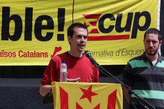 Roger Castillo, número 1 de la CUP, durant el seu discurs // Laura Herrero