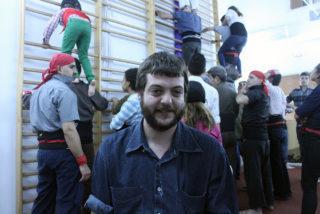 Salva Prat després de ser entrevistat per Viu Molins de Rei durant un assaig a la Federació Obrera // Jose Polo