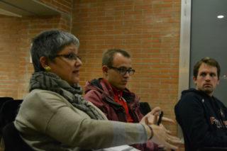 Cristina Vilà, vicepresidenta de l'AEM, exposant els problemes de la seva entitat // Elisenda Colell