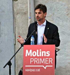Xavi Paz durant la presentació de la llista electoral del PSC al pati del Palau // David Guerrero