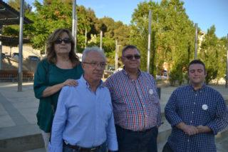 Membres d'IV-MES a la roda de premsa, a la plaça Menéndez Pelayo // Elisenda Colell