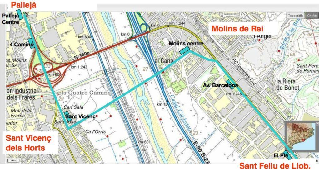Mapa que mostra el recorregut del Trambaix amb el nou pont sobre el riu // Iniciativa per Molins de Rei