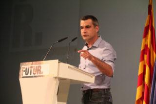 L'alcalde Joan Ramon Casals durant el seu breu discurs // Elisenda Colell