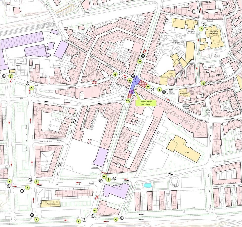 Mapa de circulació durant les obres // Ajuntament de Molins de Rei