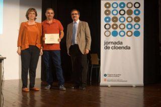Irene Rigau, Ramon Graells i Melcior Arcarons durant l'acte d'entrega del guardió // Bernat el Ferrer