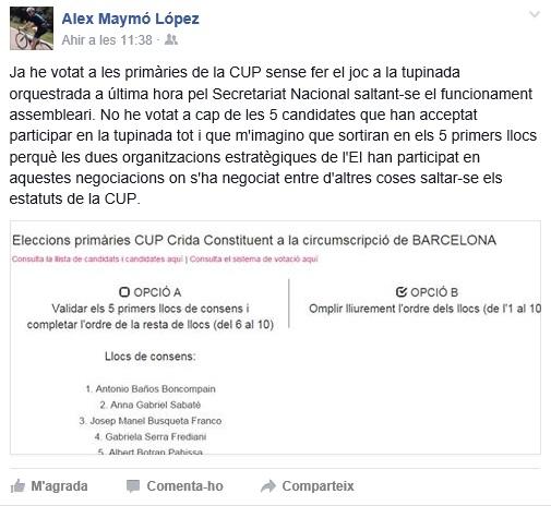 La publicació a la xarxa social, Facebook, on Álex Maymó mostrava el seu parer // Elisenda Colell
