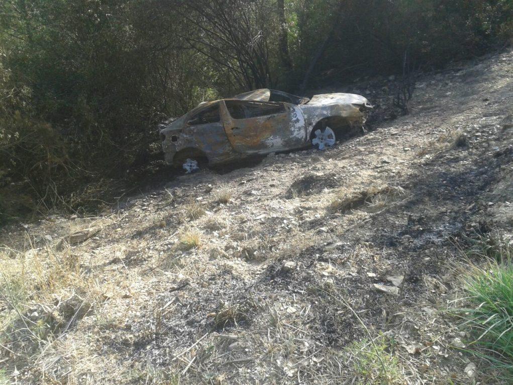 El cotxe va caure muntanya avall fins ser frenat per l'arbrat // ADF Puigmadrona-Olorda