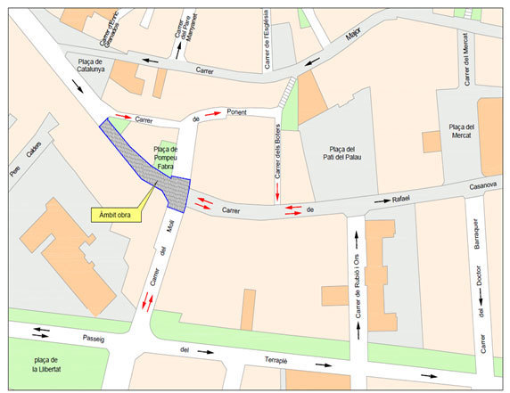 Mapa on s'indiquen els canvis de circulació degut a les obres del tram final del carrer Rafael Casanova // Ajuntament de Molins de Rei