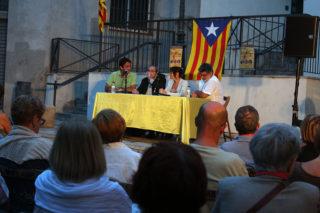 Llodrà, Climent, Guillén i Voltas compartint taula en un Racó dels Gegants Vells ple // Jose Polo