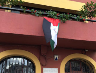 La bandera del Sàhara Occidental al balcó de l'Ajuntament // Jessica Revestido