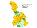 Mapa del Baix Llobregat amb el percentatge de dones contractades // Consell Comarcal