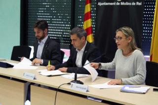 D'esquerra a dreta: Paz, Casals i Folquer durant la roda de premsa // Jose Polo