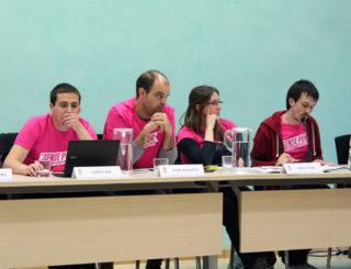 El grup municipal de la CUP durant el debat // Jose Polo