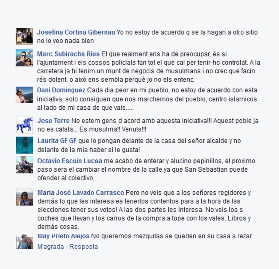 Captura de pantalla dels comentaris al Facebook de Viu Molins de Rei que es poden consultar en aquest enllaç