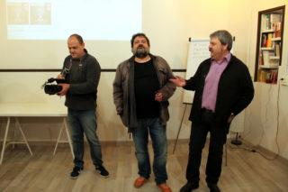 Xavi, Pere i Ivan Arcas Blanch, els tres socis de l'associació, el dia de la presentació // Jordi Julià
