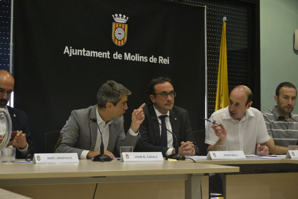Josep Rull amb els alcaldes de Molins de Rei i Castellbisbal // David Bueno