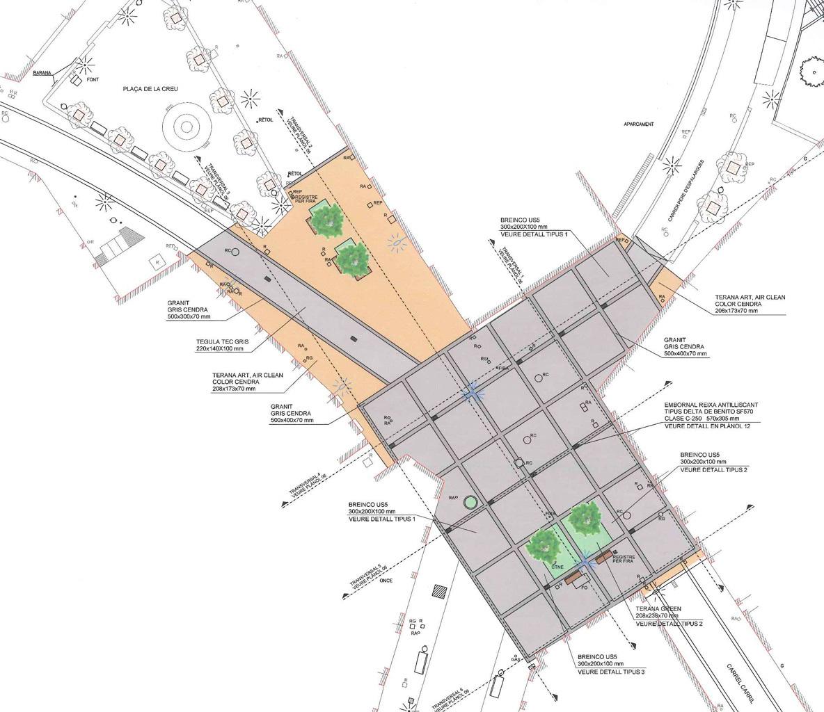 Plànol del projecte, que continuarà l'espai marcat als cotxes al carrer Rafael Casanova però a la cruïlla desapareixerà // Ajuntament de Molins de Rei
